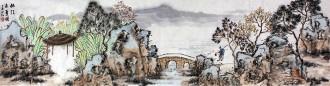 赵向红 四尺对开横幅 国画山水画《林江未夏图》