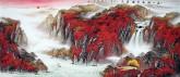 黄胜荣 国画聚宝盆山水画 小八尺横幅 2.4米《万山红遍层林尽染》