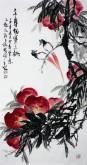 (已售)石云轩 国画写意花鸟画 三尺竖幅《三千年结实之桃》寿桃 寿带鸟7-7
