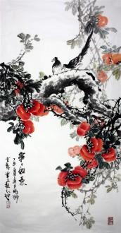 石云轩 国画写意花鸟画 四尺竖幅 事事如意 柿子 喜鹊7 10