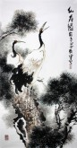 (已售)石云轩 国画写意花鸟画 四尺竖幅《仙寿图》松树仙鹤7-5