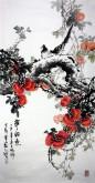 石云轩 国画写意花鸟画 四尺竖幅《事事如意》柿子 喜鹊7-10
