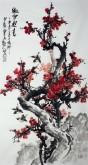 石云轩 国画写意花鸟画 三尺竖幅《傲雪迎春》红梅花7-1