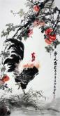 石云轩 国画写意花鸟画 四尺竖幅《事事大吉》公鸡 柿子7-7