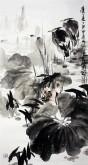 (已售)石云轩 国画写意花鸟画 三尺竖幅《清夏》荷花 白鹭7-8