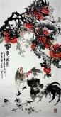 石云轩 国画写意花鸟画 四尺竖幅《事事如意》公鸡 柿子7-8