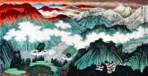 许永华 四尺横幅 国画重彩山水画《云水之间》