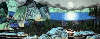 许永华 小六尺横幅 国画重彩山水画《天籁无声》