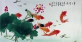 凌雪 三尺横幅 国画九鱼图《年年有余》荷花鲤鱼8-1