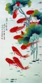 (已售)凌雪 三尺竖幅 国画荷花鲤鱼《年年有余》九鱼图8-11