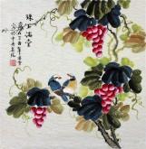 凌雪 三尺斗方 国画写意花鸟画《珠玉满堂》9-9葡萄
