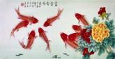 凌雪 三尺横幅 国画花鸟画《富贵有余》9-3 牡丹风水九鱼鲤鱼