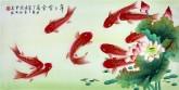 (已售)凌雪 三尺横幅 国画花鸟画《年年有余》9-15 荷花九鱼