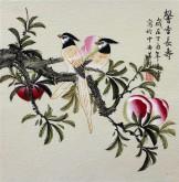 (已售)凌雪 三尺斗方 国画写意花鸟画《馨香长寿》9-16寿桃