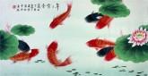 凌雪 三尺横幅 国画花鸟画《年年有余》9-13 莲花九鱼