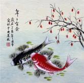 凌雪 三尺斗方 国画写意花鸟画《年年有余》9-5双鲤鱼