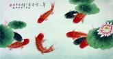 凌雪 三尺横幅 国画花鸟画《年年有余》9-12 莲花九鱼