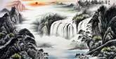 (已售)华卧石 国画山水画 四尺横幅《万水地间终是一 诸山天外自为群》