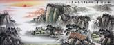 (已售)墨宇(周卡)国画聚宝盆山水画 小六尺横幅1.8米 《旭日祥云》