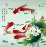 凌雪 四尺斗方 国画工笔画《年年有余》荷花鲤鱼9-6