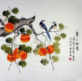 凌雪 四尺斗方 国画工笔画《事事如意》柿子9-23
