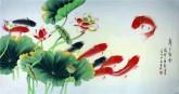 (已售)凌雪 四尺横幅 国画工笔画 风水九鱼图《年年有余》荷花鲤鱼9-20