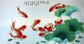 凌雪 四尺横幅 国画工笔画 风水九鱼图《年年有余》荷花鲤鱼9-22