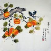 凌雪 四尺斗方 国画工笔画《事事如意》柿子9-20