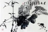 (已售)石云轩 国画写意花鸟画 四尺三开《晨趣图》竹子9-16
