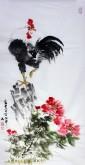 白洋 国画写意花鸟 三尺竖幅《富贵大吉》公鸡雄鸡牡丹