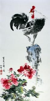 白洋 国画写意花鸟 三尺竖幅《富贵吉祥》公鸡雄鸡牡丹