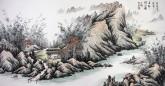 卢峰 国画山水画 四尺横幅《高枕听涛声 层轩抱江影》