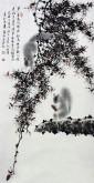 (已售)薛大庸(一级美术师)国画动物松鼠画 三尺竖幅《步步穿篱入境幽》9-5