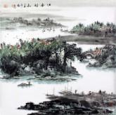 (已售)杨秀亮(吉林省美协) 国画山水画 精品四尺斗方《江南诗意》