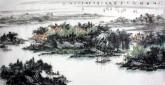 杨秀亮(吉林省美协)国画山水画 精品四尺横幅《江南诗意入画图》