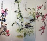 (已售)凌雪 国画写意花鸟画四条屏《梅兰竹菊》9-3