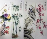 (已售)凌雪 国画写意花鸟画四条屏《梅兰竹菊》9-1