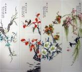 (已售)凌雪 国画写意花鸟画四条屏《春夏秋冬》9-5