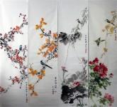 白洋 国画写意花鸟 精品春夏秋冬四条屏