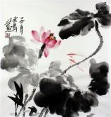 石云轩 国画写意花鸟画 三尺斗方《荷花》小鱼10-9