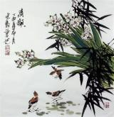 石云轩 国画写意花鸟画 三尺斗方《清韵》水仙花10-13