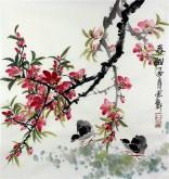 石云轩 国画写意花鸟画 三尺斗方《春酣》桃花10-3