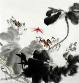 石云轩 国画写意花鸟画 三尺斗方《荷香》荷花蜻蜓11-6