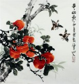 石云轩 国画写意花鸟画 三尺斗方《事事如意》柿子11-5