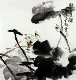 石云轩 国画写意花鸟画 三尺斗方《荷香清韵》荷花小鱼11-8