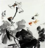 石云轩 国画写意花鸟画 三尺斗方《荷花金鱼》11-2