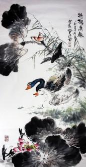 石云轩 国画写意花鸟画 四尺竖幅《荷塘清趣》荷花天鹅11-1