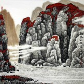 许永华 四尺斗方 国画山水画《和风秋韵图》