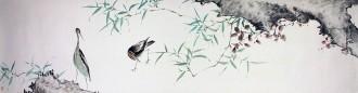 王海香(山东美协会员)四尺对开 国画花鸟画《幽谷逸林》