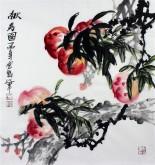 石云轩 国画写意花鸟画 三尺斗方《献寿图》桃11-13